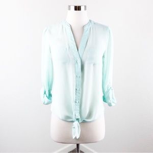 Candie's mint green lace buttoned down top